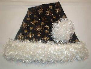 "24/"" BLACK Santa hat with GOLD SNOWFLAKES /& IVORY cream faux fur ball /& trim"