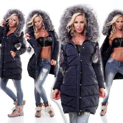 Steppjacke Damen Kurzmantel schwarz blau XXL/42 S 36  Kapuze Winterjacke Jacke