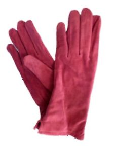 Northcrest-Womens-Red-Suede-Leather-Gloves-Small-Medium