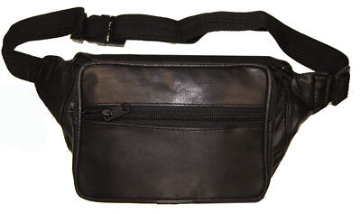 Leather Fanny Pack Travel Waist Belt Bag Pouch Bottle Holder With 18 Extersion