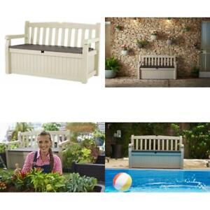 Amazing Details About Keter Eden 70 Gal All Weather Outdoor Patio Storage Bench Deck Box Beige Brown Dailytribune Chair Design For Home Dailytribuneorg