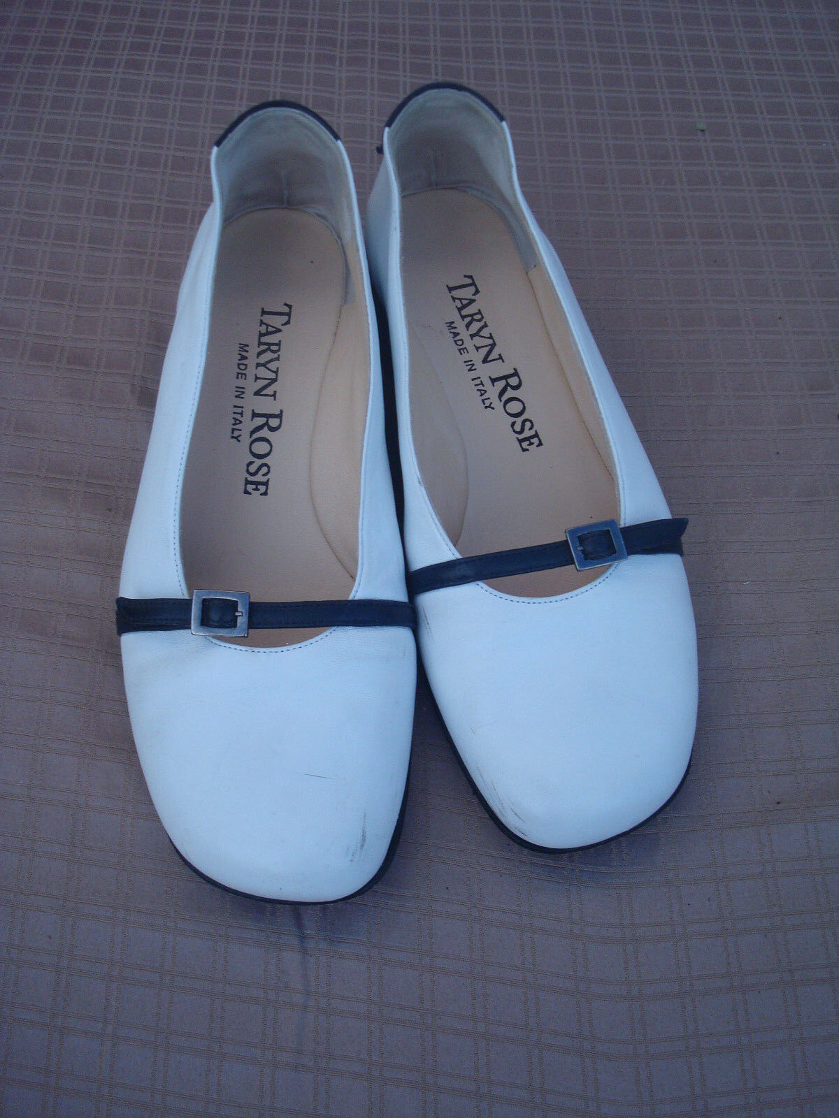 Taryn Rose Comfy White Navy Blue Genuine Pelle Donna Flat Ballet Scarpe 6 Italy