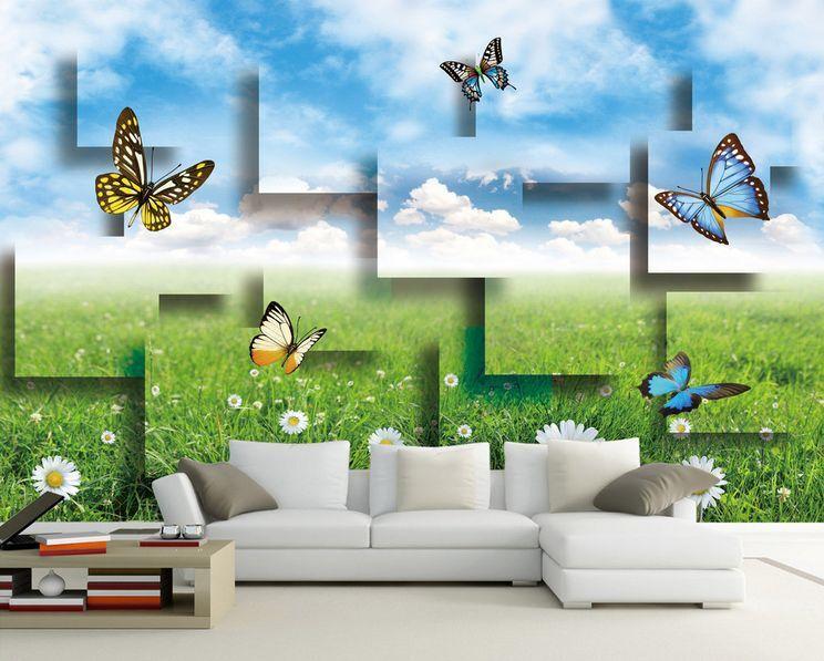 3D Schmetterlinge, Gras 8787 Fototapeten Wandbild Fototapete BildTapete Familie