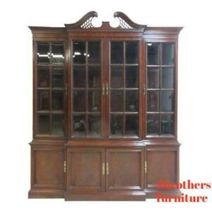 Hickory-Chair-Co-Mahogany-Chippendale-China-Cabinet-Hutch-Curio-Crystal-Display