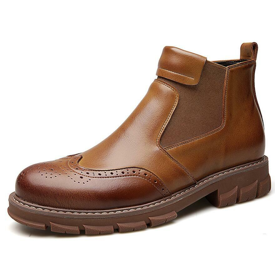 Mens Leather Pull On Casual Formal Chelsea Boots Combat Ankle Boots shoes FTYGHJ