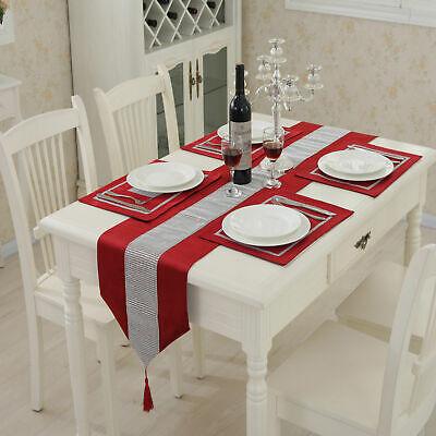 Diamante Table Runner Velvet Satin Tasseled Edges+Dining Table Place Mats Home