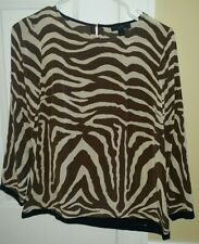 EUC J Crew brown/navy zebra print silk blouse, Size 0