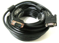 50FT 15 PIN BLACK VGA SVGA M/M Male to Male Cable CORD FOR Monitor PC TV