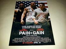 """PAIN & GAIN CAST X2 PP SIGNED 12""""X8"""" POSTER MARK WAHLBERG AND DWAYNE JOHNSON"""