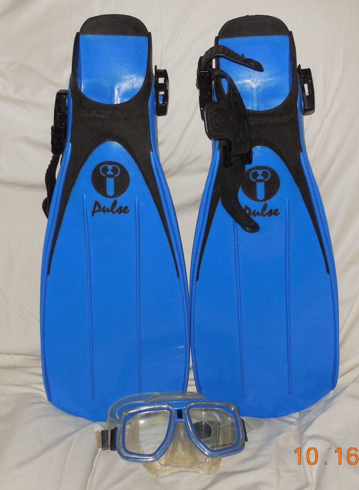U.S. Divers Deep Sea Pulse  Scuba Diving Fins Size Small Men's 7 Women's 9 + Mask  considerate service