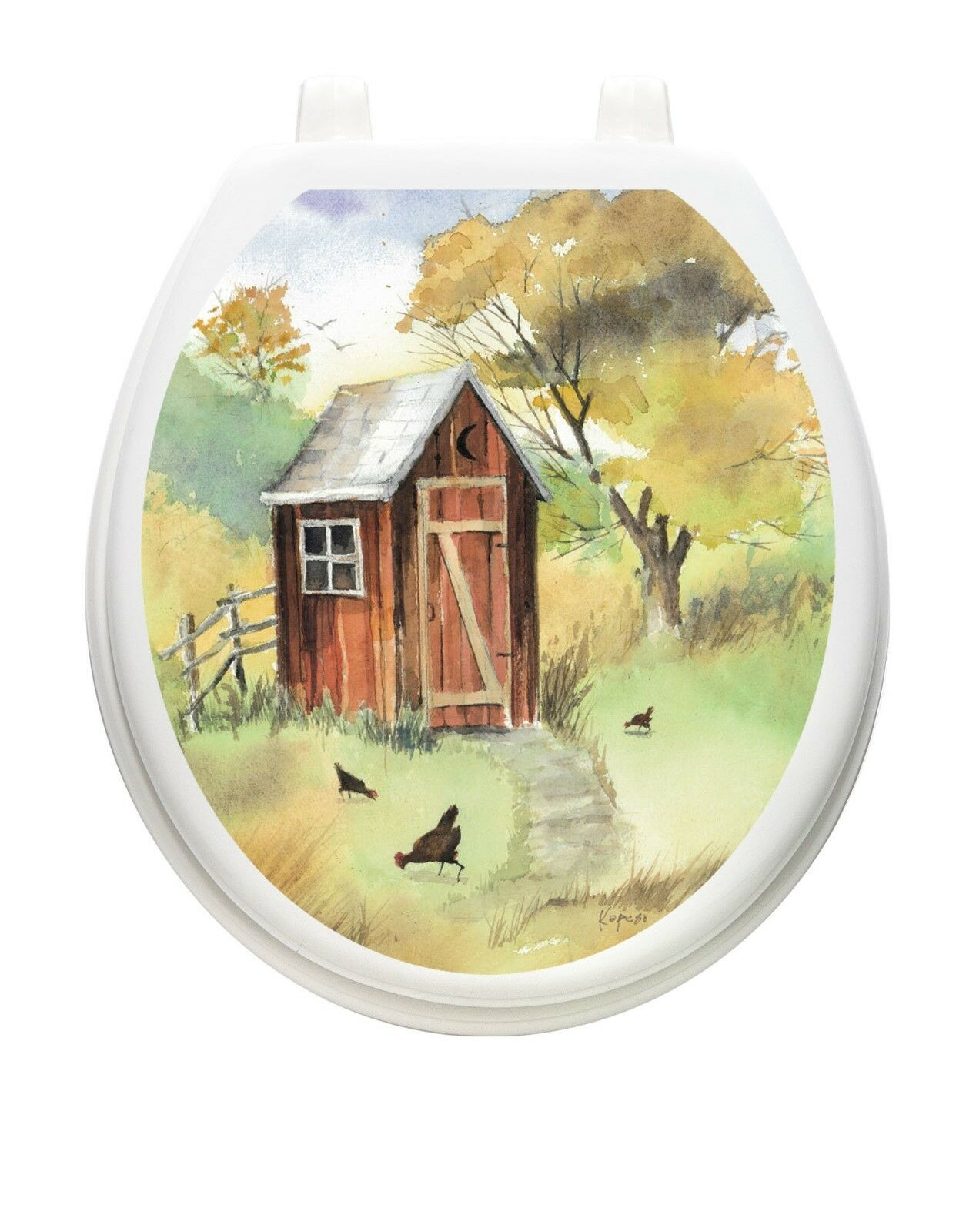 Toilet Tattoos Themes Watercolor Outhouse Toilet Seat Decal | eBay