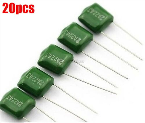 20Pcs Radial 100V 0.22UF 220Nf 220000PF 2A224 J ±5/% Mylar Film Capacitor Ic N mg