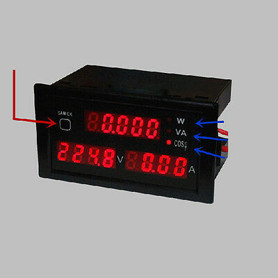 AC 110V - 220V Digital LED 100A watt power meter volt amp Ammeter Voltmeter +CT