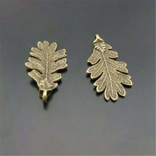 10pcs//pack Antique Bronze Alloy Tree Leaf Pendants Charms Jewelry Accessories