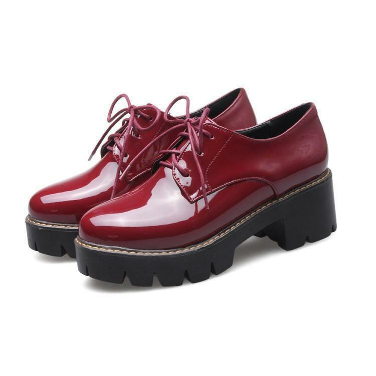 Fashion Womens Patent Leather Platform Chunky Heel boots Oxfords Brogue shoes