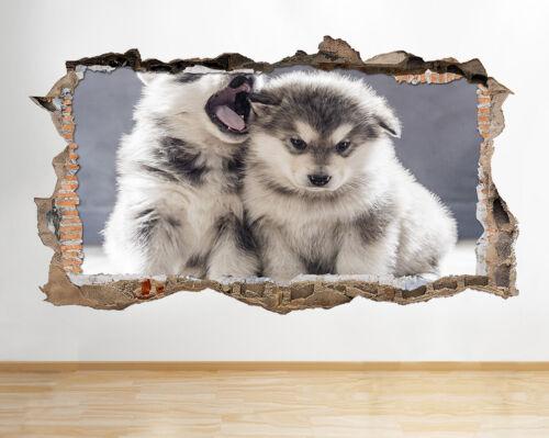 S783 Husky Cachorros bostezar lindos animales rompía la etiqueta de la pared 3D Art Stickers Vinyl Habitación