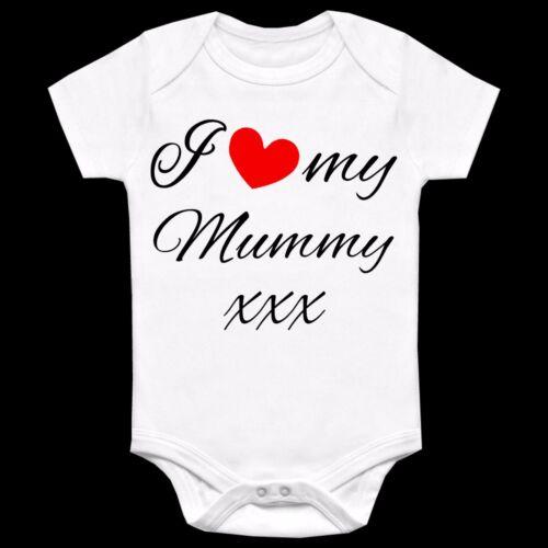 I LOVE MY PERSONALISED CUSTOM PRINTED BABYGROW VEST GIFT ANY NAME WORDING HEART