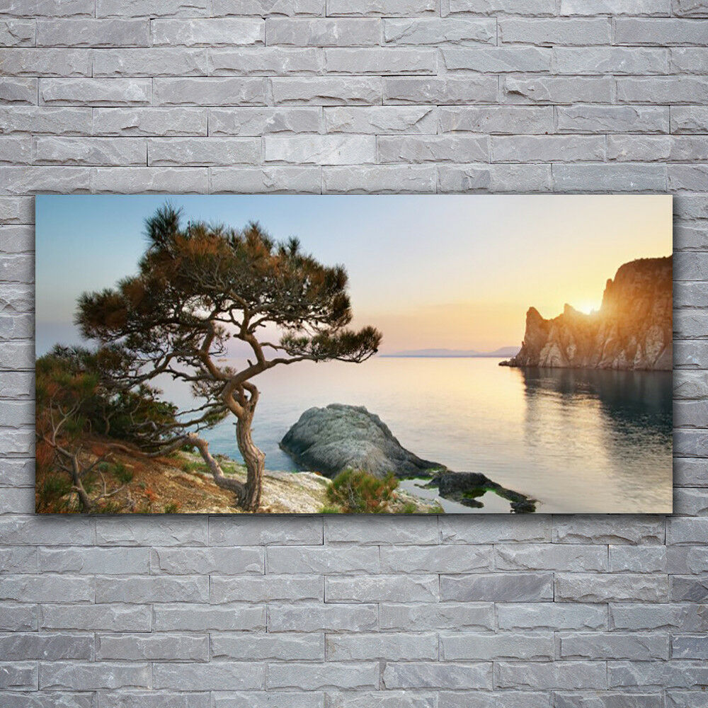 Photo sur toile Tableau Image Impression 120x60 Paysage Arbre Lac