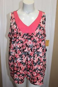NORTHCREST-Black-Salmon-Floral-Print-Cotton-Blend-Sleeveless-Top-Shirt-Size-2X