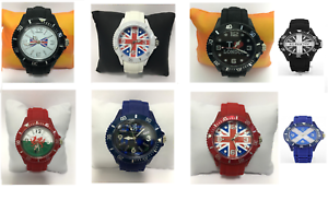 Union jack Unsex Uhren Quarz Zifferblatt Mode Gummi Armbanduhr