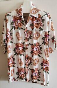 Pineapple-Juice-Hawaiian-Ukulele-amp-Lei-Shirt-Men-039-s-2XL-Made-In-Hawaii