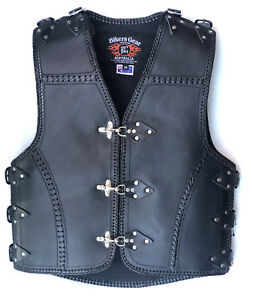 New-Heavy-Duty-3MM-Thick-A-Grade-COWHIDE-Leather-Motorcycle-Club-Vest-BRAID-CLIP