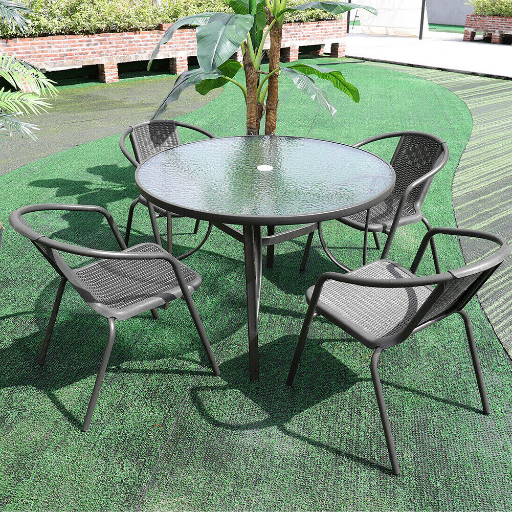 Garden Table & Chairs Set Round Metal Glass Dining Table Parasol Base 10/10pc  Seat