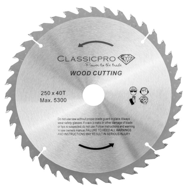 ClassicPro 250mm X 30mm Bore Reducer 40t TCT Circular Saw Blade for Wood UK for sale online