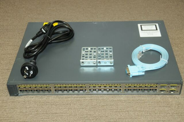 Cisco WS-C3750V2-48PS-S Switch 48-Port FE PoE 2xSFP Stackable w/Racks 1 YEAR Wty