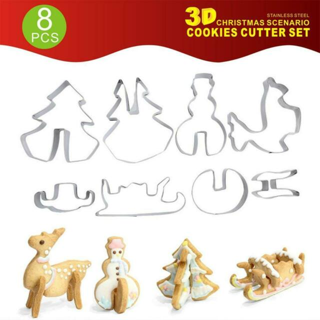 8Pcs*3D Christmas Cookie Cutters Set Stainless Steel Fondant Biscuit Baking Mold