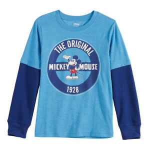 New Boys Disney Mickey Mouse T-Shirt Tee Shirt Orange NWOT Size Large 14-16