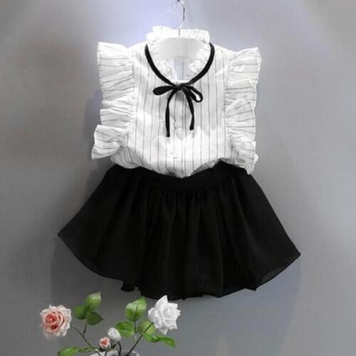 2PCS Toddler Kids Baby Girl Dress Suit Shirt Tops+Culottes Tutu Skirt Clothes UK