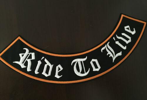 RIDE TO LIVE Patch Banner XL 33x6,0 cm Rockabilly Old School Biker tonaca MC