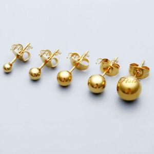 Gold Single Ball Stud Sleeper Earring 3mm,4mm,5mm or 6mm