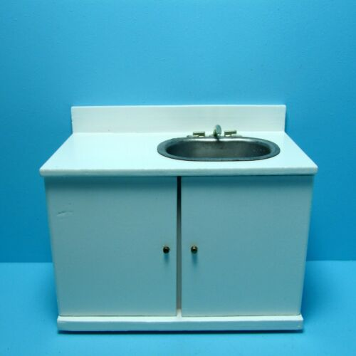 Dollhouse Miniature Kitchen Modern Sink in White M9031A