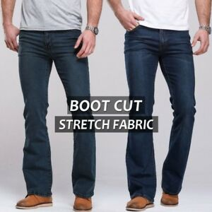 Men-039-s-Pants-Jeans-Boot-Cut-Leg-Slightly-Flared-Slim-Fit-Stretch-Fabric-Trousers