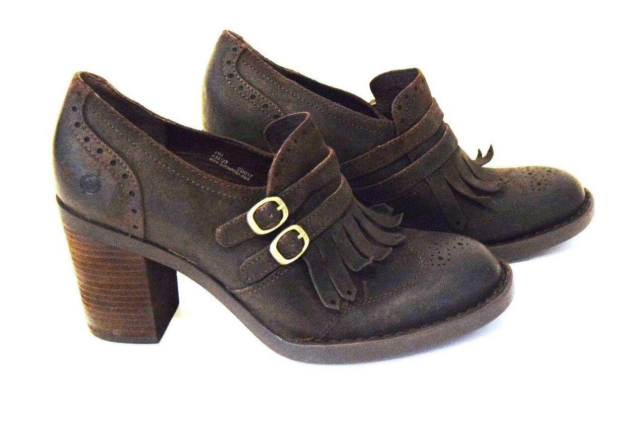 negozio outlet Born donna Marrone Hazel Fringe Heeled Heeled Heeled Pump stacked heels scarpe 11 M  garanzia di qualità