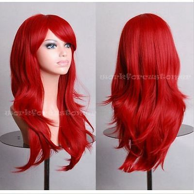 New Lolita Red 70CM Long Wavy Women's Fashion Cosplay Party Wig + Wig Cap