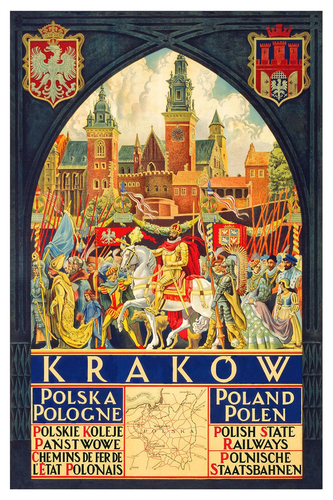 Vintage Travel Art -Poland - 24  x36  Art on Canvas