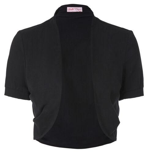 Damen Solide Kurz Ärmel Bolero Offen Schulterjacke Baumwolle Plain Strickjacke