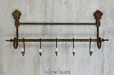 Wandgarderobe Hakenleiste Garderobe 5 Haken Keramik Metall Shabby Landhaus Antik