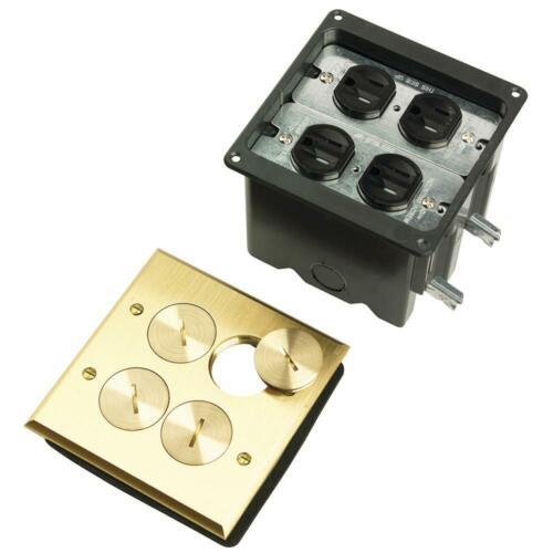 Slater Brass 2-Gang Floor Box w// Tamper-Resistant Outlets for Wood Sub-Floors