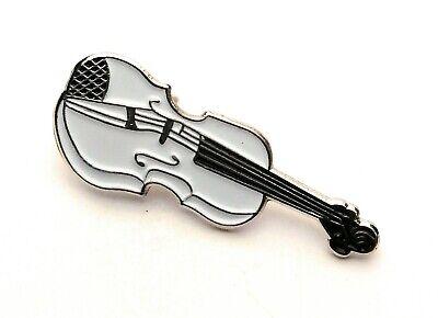 White Violin Enamel /& Metal Lapel Pin Badge 20mm Gift Free UK Postage