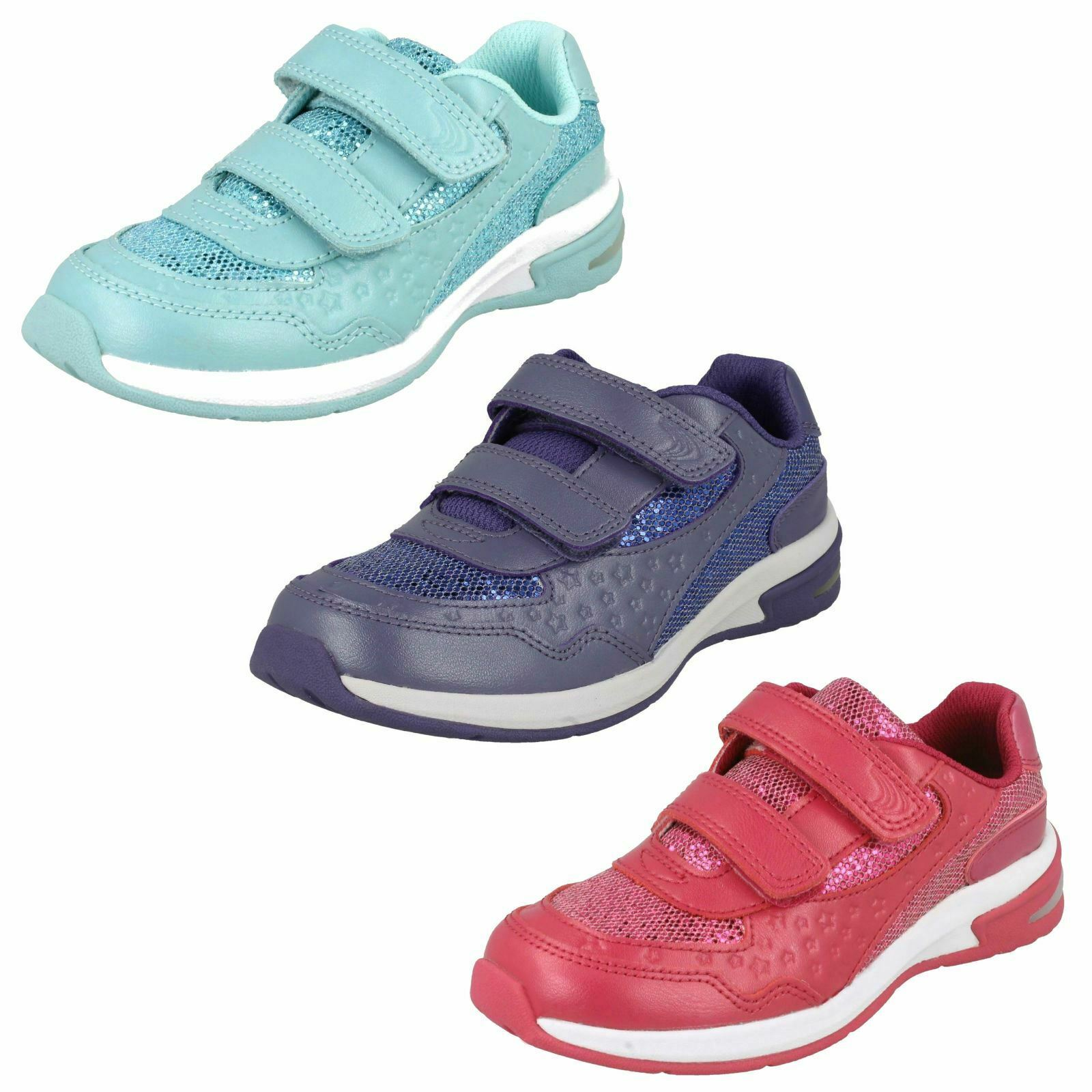 Girls Clarks Glitter Trainers With Star