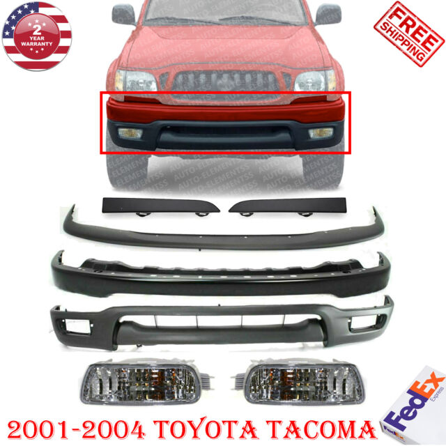 Front Bumper Paintable Kit + Fillers + Fog Lights For 2001-2004 Toyota Tacoma