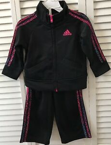 EUC Toddler Girls Adidas Track  Sweat Suit Black w  Pink Multi Color ... 72bc33d1856f