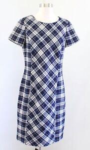Brooks Brothers Navy Blue Wool Blend Tartan Plaid Short Sleeve Shift Dress Sz 10
