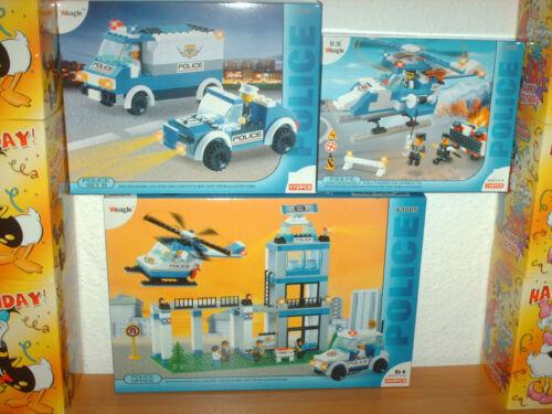 Weagle Polizei-Set mit Polizeistation, Fahrzeuge und Hubschrauber OVP