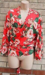 Rojo-Rosa-Margarita-Floral-Verde-Envoltura-de-manga-larga-con-cinturon-envuelto-Blusa-Prenda-para-el