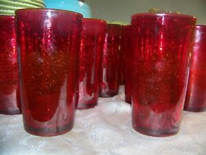 12-Hand-Blown-Ruby-Red-Glass-Tumblers-Glasses-Bubbles-Pontil-5-3-4-034-LKNU